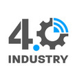 industry 40 smart factory concept logo gear and vector image