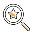 isolated star inside lupe line style icon vector image vector image