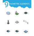 isometric architecture set of turning road plants vector image vector image