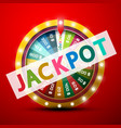 jackpot symbol with wheel of fortune on red vector image vector image