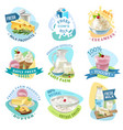 milk products emblems set vector image