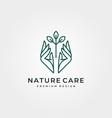 nature tree care logo design line art hand vector image vector image