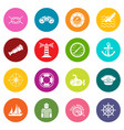 nautical icons set colorful circles vector image
