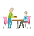 Old Couple Eating Cake At The Table Smiling vector image vector image