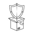 packing box carton with shield vector image vector image