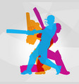 passionate professional cricket athlete in action vector image vector image