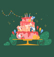 people cook festive cake with cream and vector image vector image