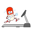 pill capsule character running on a treadmill vector image vector image