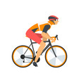 racing cyclist character male athlete riding bike vector image vector image