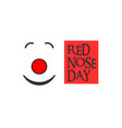 red nose clown red nose day and text vector image vector image