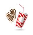 retro cinema tickets soda paper glass vector image