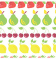 row fruits seamless pattern white vector image