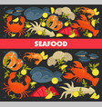 seafood restaurant menu fish and lobster or crab vector image vector image
