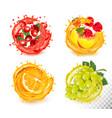 set fruit juice splash rawberry orange vector image vector image