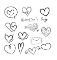 Set of doodle hearts vector image vector image
