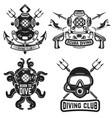 set of vintage dive helmets diver emblems diver vector image vector image
