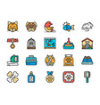 set vet clinic flat color icons cat dog bird vector image