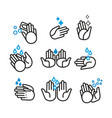 set with hand icons on hygiene theme vector image