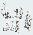 sketches children on playground vector image vector image