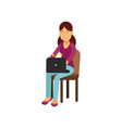 teen girl in casual clothes sitting on a chair vector image