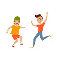 teenagers in casual clothing funny dances vector image