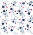 watercolor astronaut pattern vector image vector image