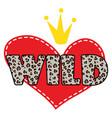 wild heart shirt design symbol vector image vector image