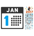 January First Icon With 2017 Year Bonus Symbols vector image