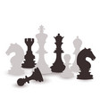 chess figures set black and white international vector image