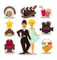 cinema template set of symbols on white vector image