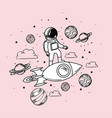 astronaut draw with rocket and planets design