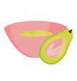 avocado mashed in a bowl and a half of avocado vector image vector image