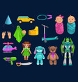 baby toy car robot doll bear and scooter icons vector image vector image