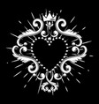 beautiful ornamental heart with crown in white vector image vector image