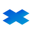blue plus sign icon isometric style vector image vector image
