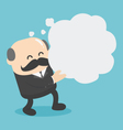 Businessman holding a empty speech bubble vector image vector image