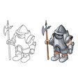 cartoon medieval knight with shield and spear vector image vector image