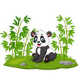 cartoon panda in bamboo tree vector image vector image