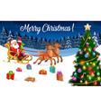 christmas sleigh with santa xmas gifts reindeer vector image vector image