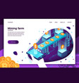 concept - cryptocurrency mining process vector image vector image