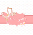 Cute baby girl announcement card with stork vector image vector image