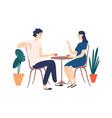 cute couple sitting at table drinking tea or vector image vector image