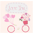 flower bicycle on polka dot background vector image vector image