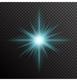 Glowing light burst with sparkles on transparent vector image vector image