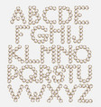 hand drawn font pearls with golden frame made vector image