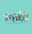 happy business team jumping karaoke party vector image