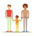 happy mixed-race gay family vector image vector image