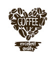 heart coffee beans on a white background vector image