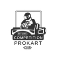 Karting Club Prokart Competition Black And White vector image