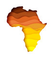 layered paper cut style map africa vector image vector image